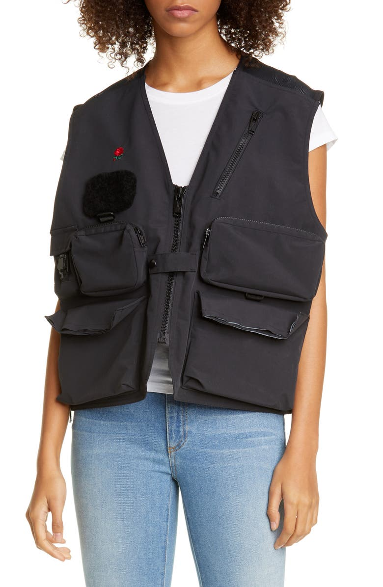 UNDERCOVER Bleeding Rose Nylon Utility Vest, Main, color, A BLACK