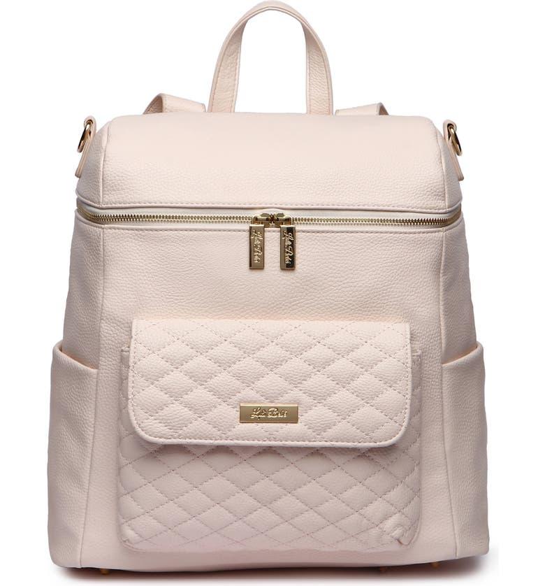 LULI BEBÉ Monaco Faux Leather Diaper Backpack, Main, color, PASTEL PINK
