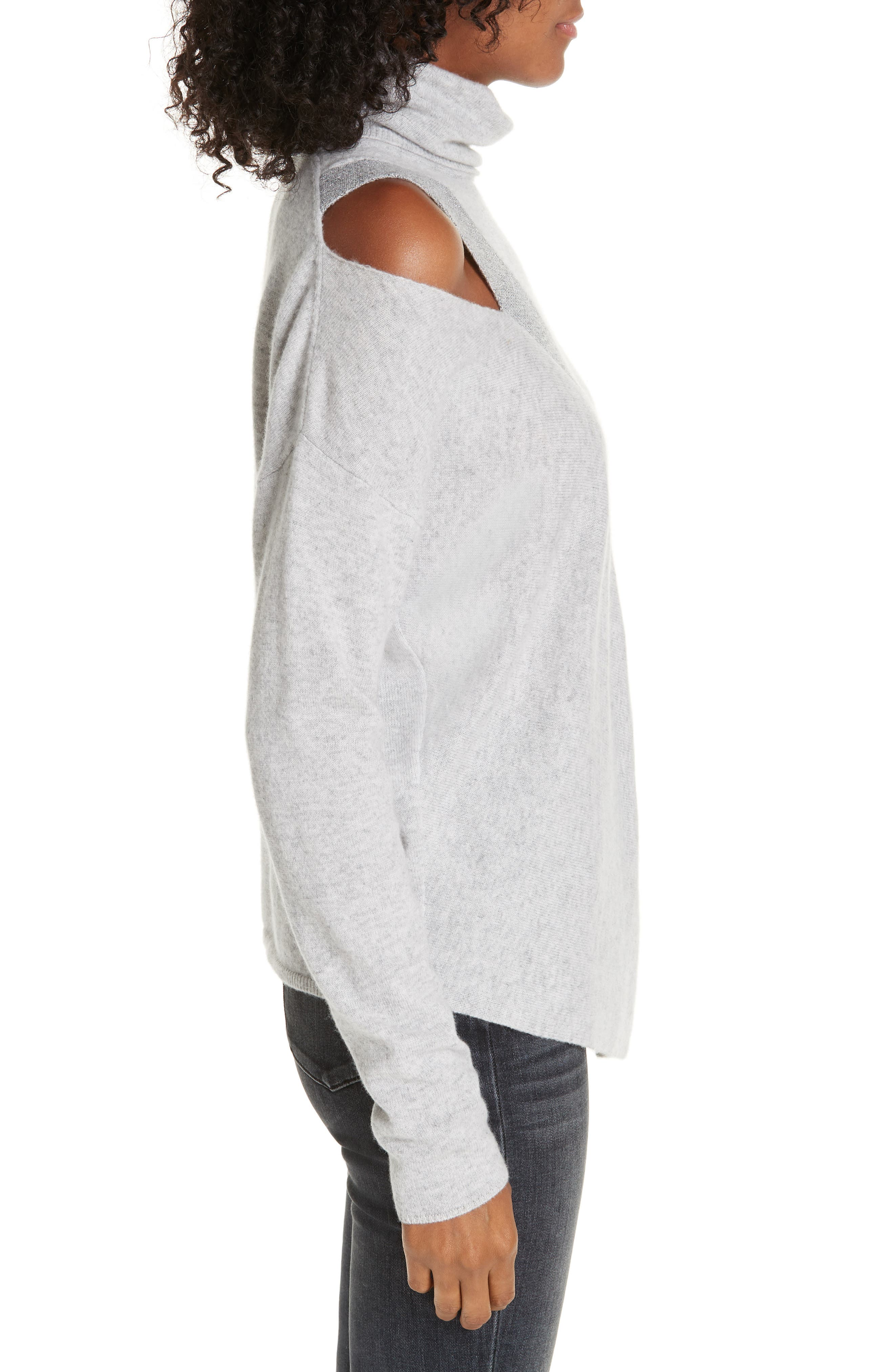 ,                             Fae Cold Shoulder Asymmetrical Cashmere Blend Sweater,                             Alternate thumbnail 3, color,                             ARCTIC GREY COMBO