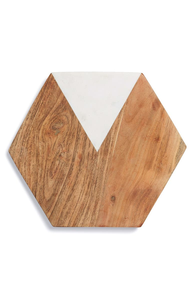 THIRSTYSTONE Marble & Wood Hexagonal Serving Board, Main, color, 200