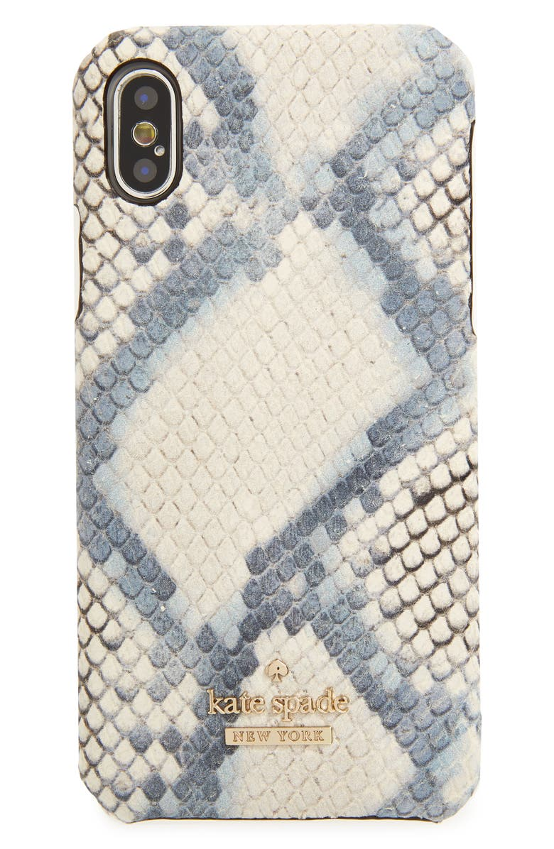 KATE SPADE NEW YORK snake embossed leather iPhone X/Xs case, Main, color, 400