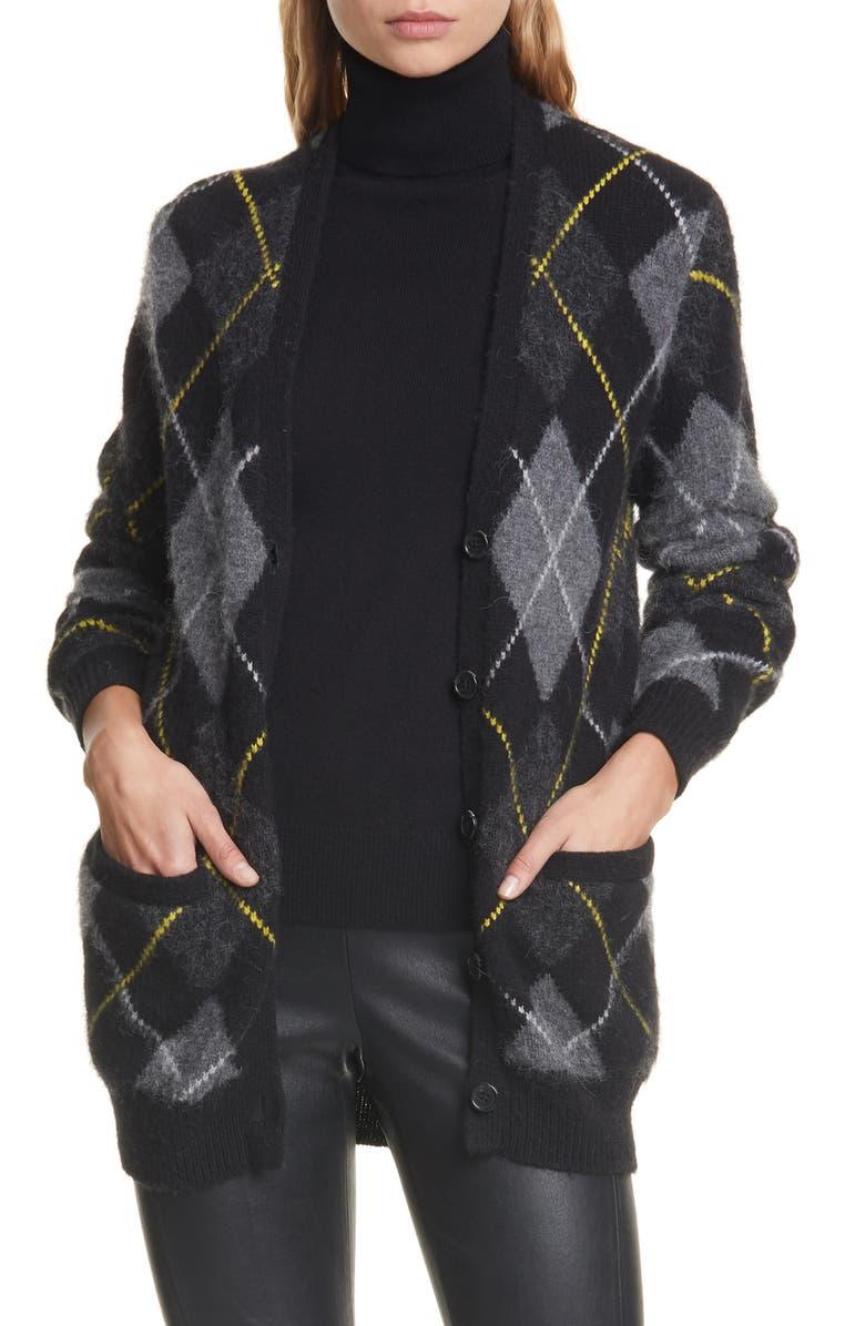 POLO RALPH LAUREN Argyle Wool & Alpaca Cardigan, Main, color, CHARCOAL/ MULTI