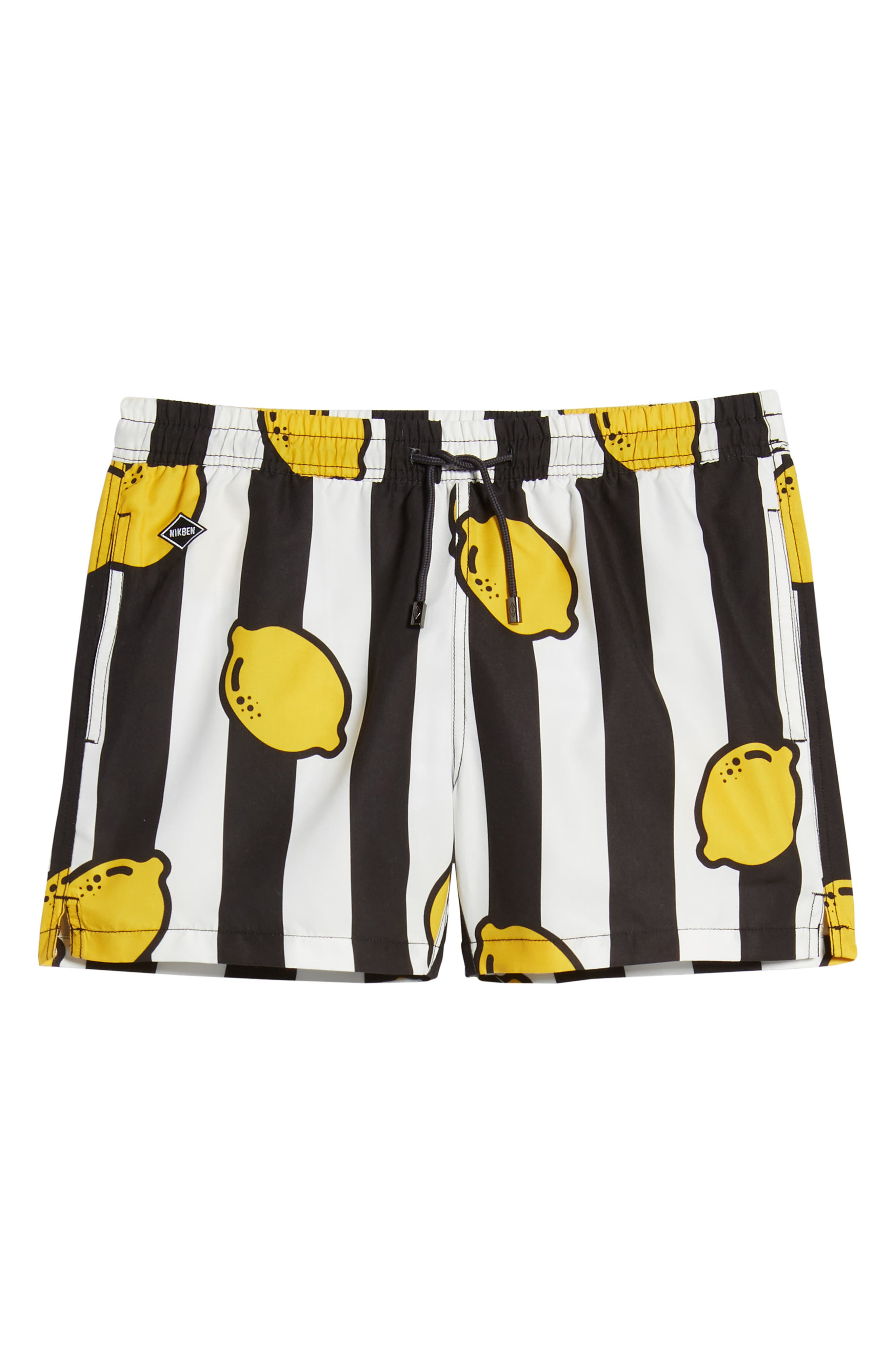 ,                             Limoncello Swim Trunks,                             Alternate thumbnail 6, color,                             BLACK/WHITE