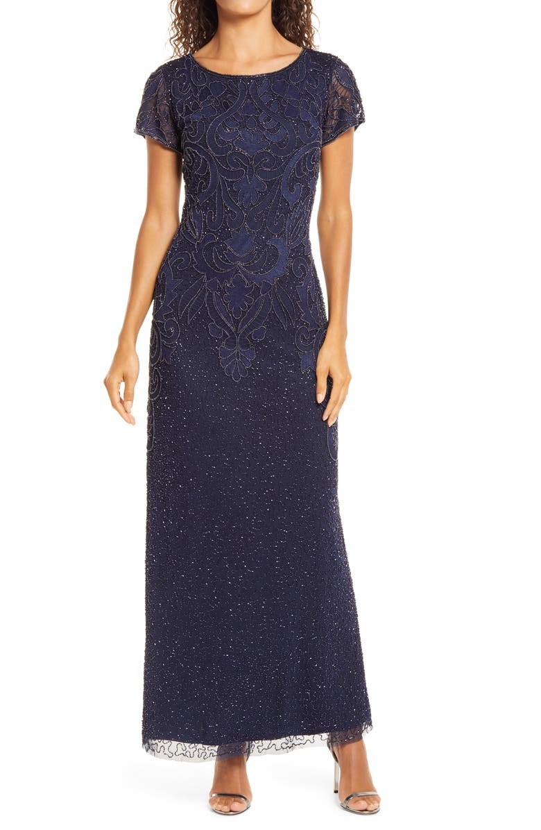 PISARRO NIGHTS Embroidered Mesh Gown, Main, color, NAVY