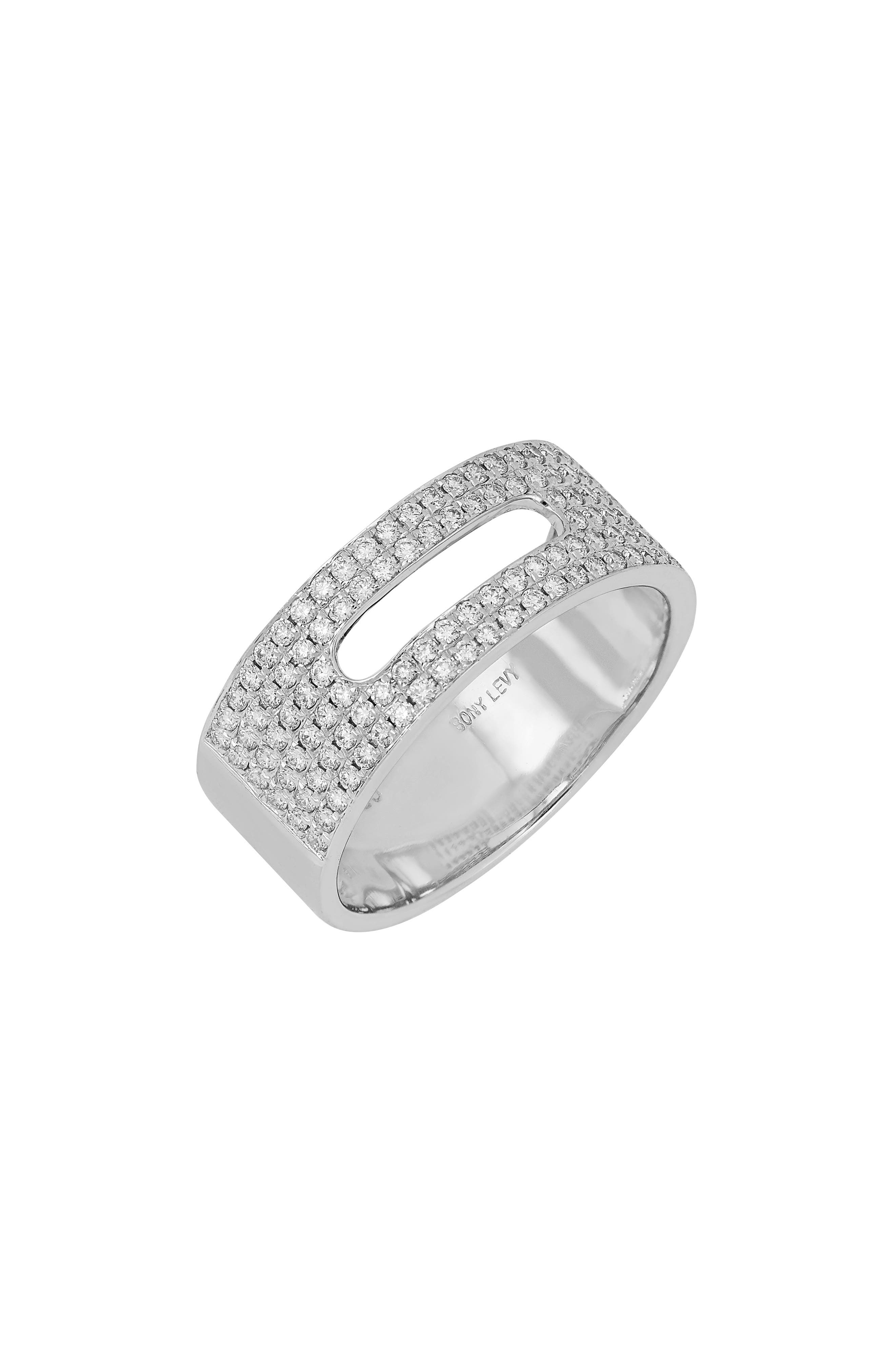 Wide Cutout Pave Diamond Band (Nordstrom Exclusive)