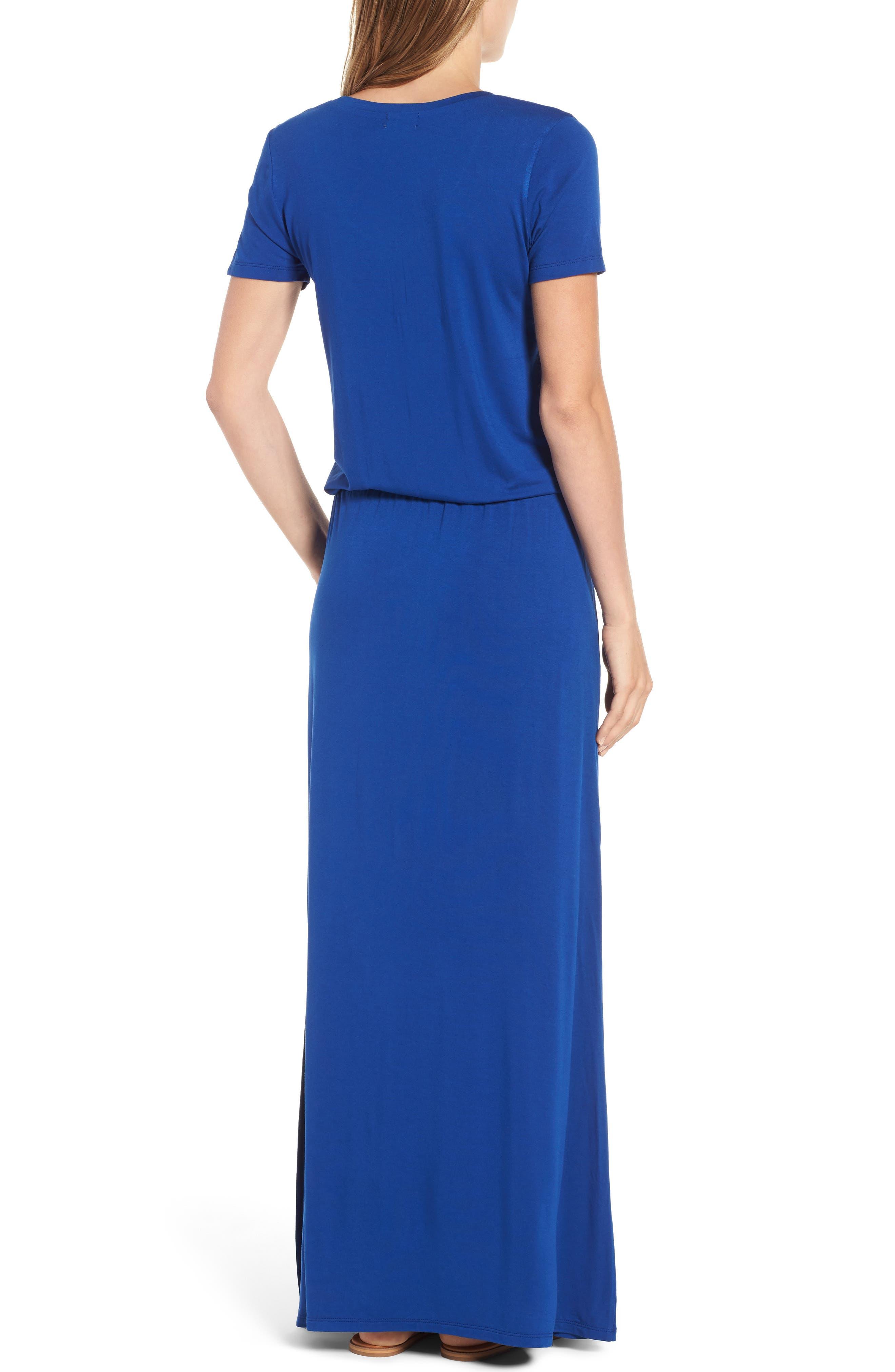 ,                             Drawstring Jersey Maxi Dress,                             Alternate thumbnail 2, color,                             BLUE MAZARINE