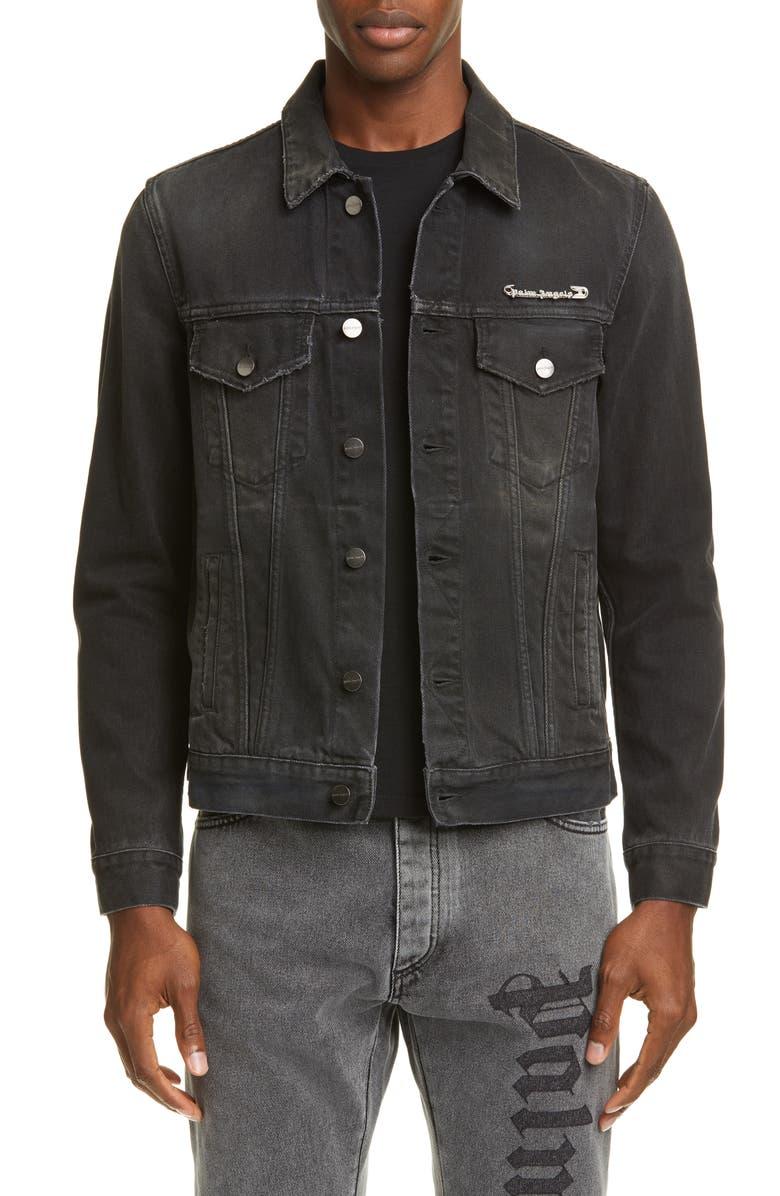 PALM ANGELS Pin My Heart Denim Jacket, Main, color, BLACK MULTI