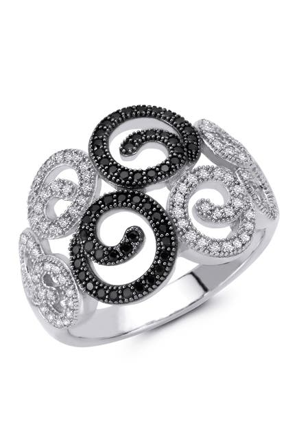 Image of LaFonn Two-Tone Micro Pave Simulated Diamonds White & Black Cocktail Ring