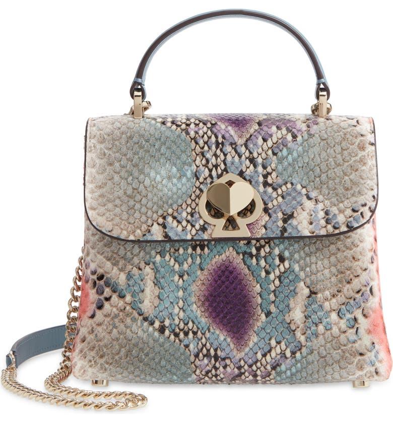 KATE SPADE NEW YORK romy phython embossed leather mini satchel, Main, color, GREY MULTI
