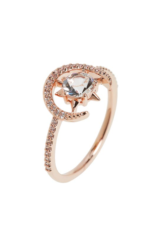 Nadri Wishes Crystal Ring In Clear/ Rose Gold