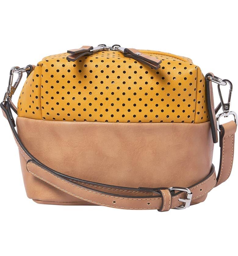 URBAN ORIGINALS Let Me Be Perforated Vegan Leather Crossbody Bag, Main, color, YELLOW/ SAND