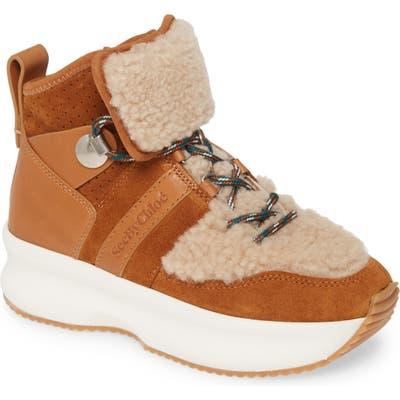 See By Chloe Casey Genuine Shearling Trim Platform Sneaker, Brown