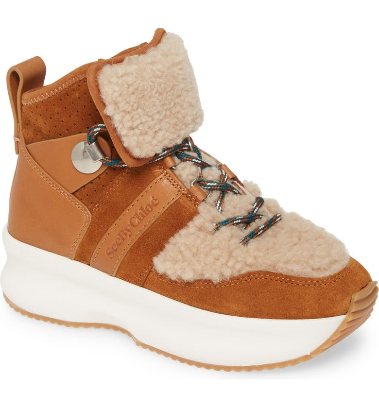 SEE BY CHLOÉ Casey Genuine Shearling Trim Platform Sneaker, Main, color, NATURAL