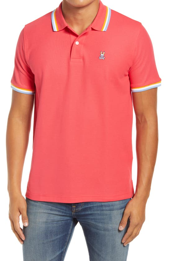 Psycho Bunny Bower Tipped Short Sleeve Polo In 668 Camelia