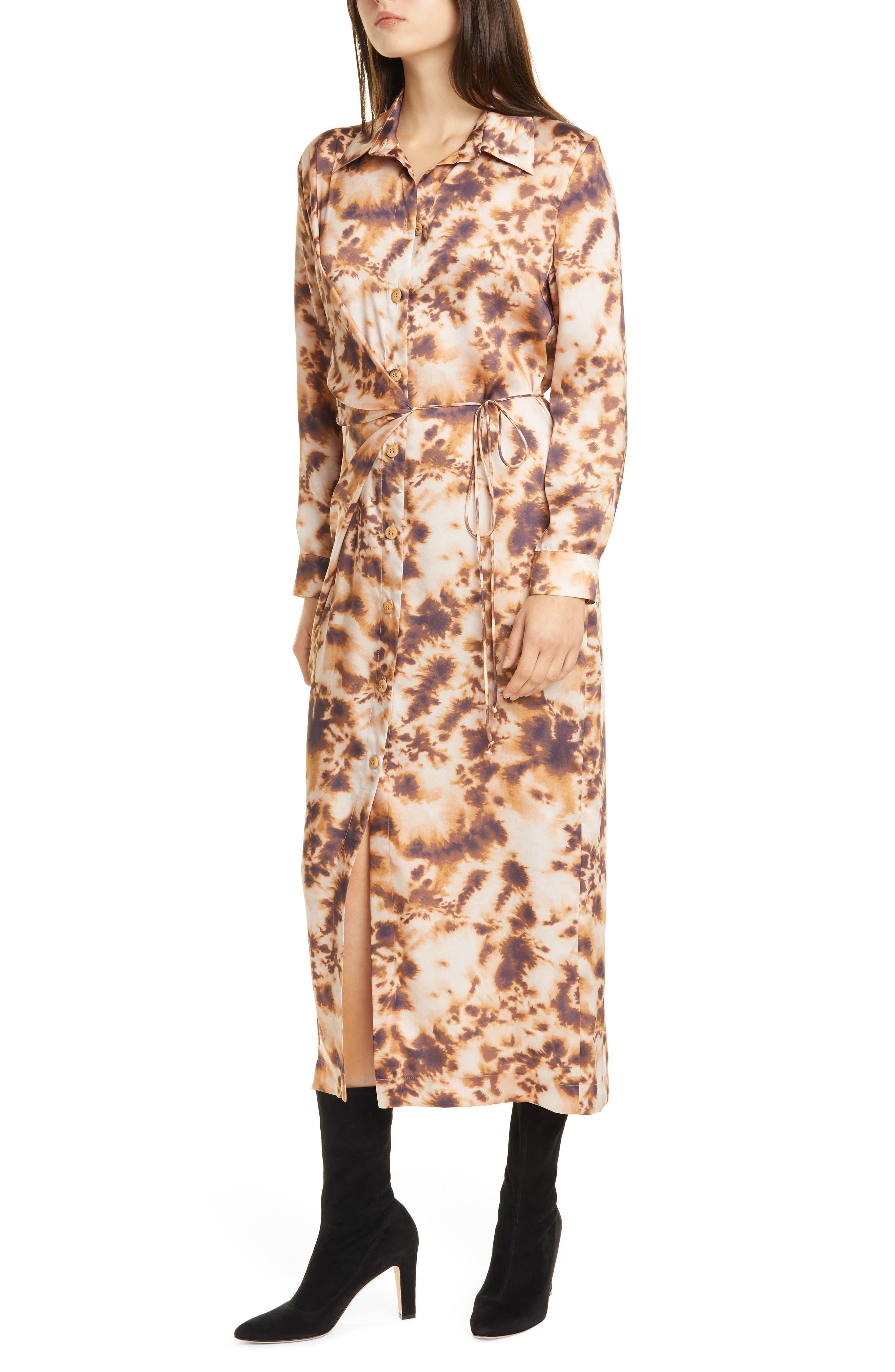 Image of Nanushka Bisso Long Sleeve Maxi Shirtdress