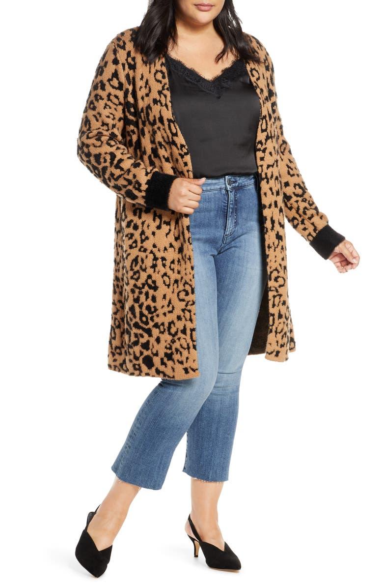 1.STATE Leopard Jacquard Eyelash Cardigan, Main, color, WILD OAK