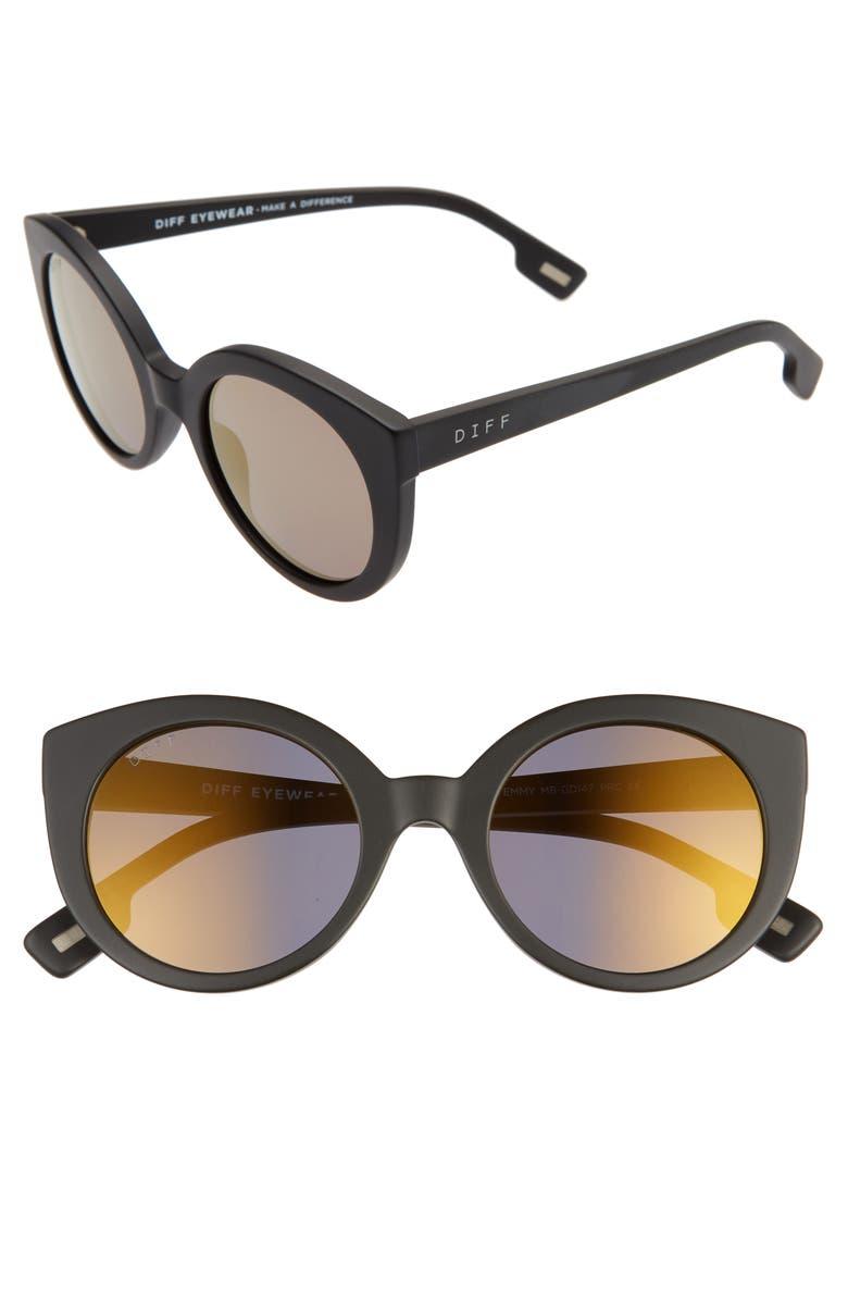 DIFF Emmy 50mm Cat Eye Sunglasses, Main, color, 001