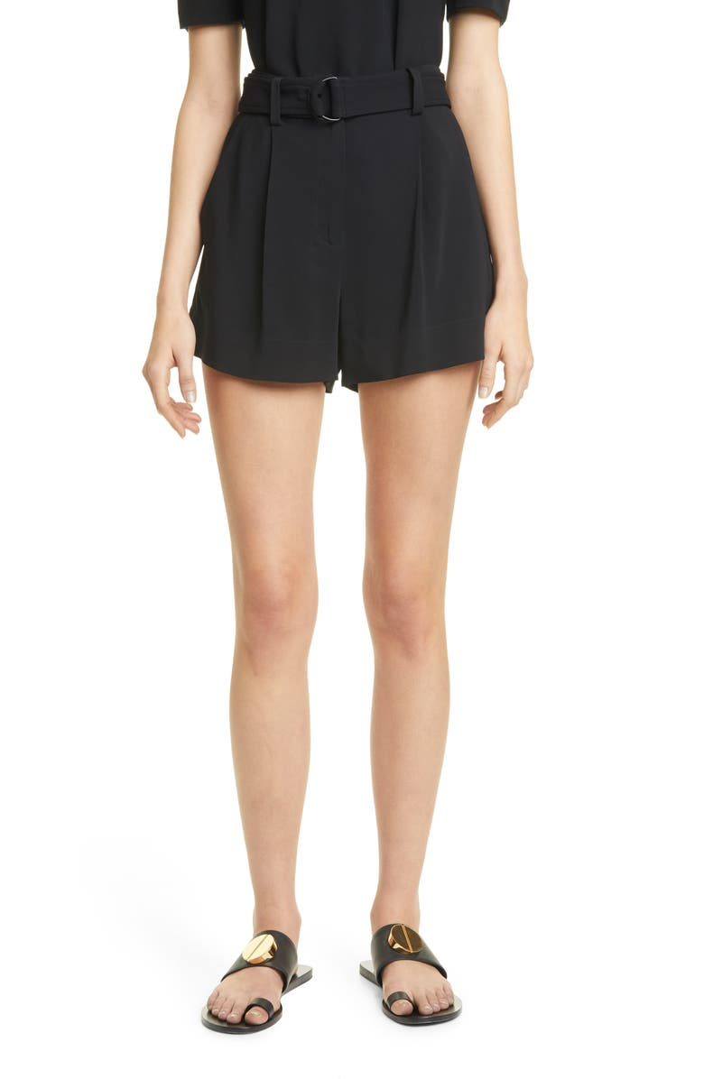 A.L.C. Bronson Belted High Waist Pleated Shorts, Main, color, 001