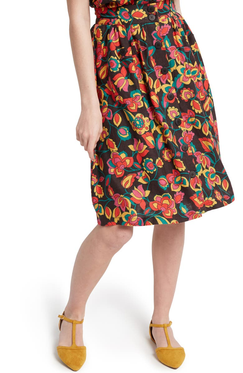 MODCLOTH Button Front Full Skirt, Main, color, 001