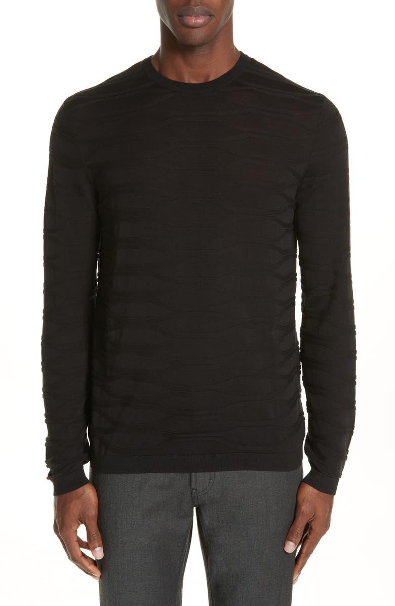 EMPORIO ARMANI Silk & Cotton Crewneck Sweater, Main, color, 001