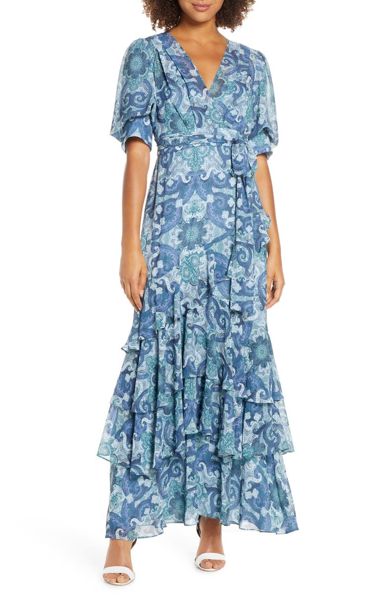 EVER NEW Tiered Faux Wrap Maxi Dress, Main, color, PRINT