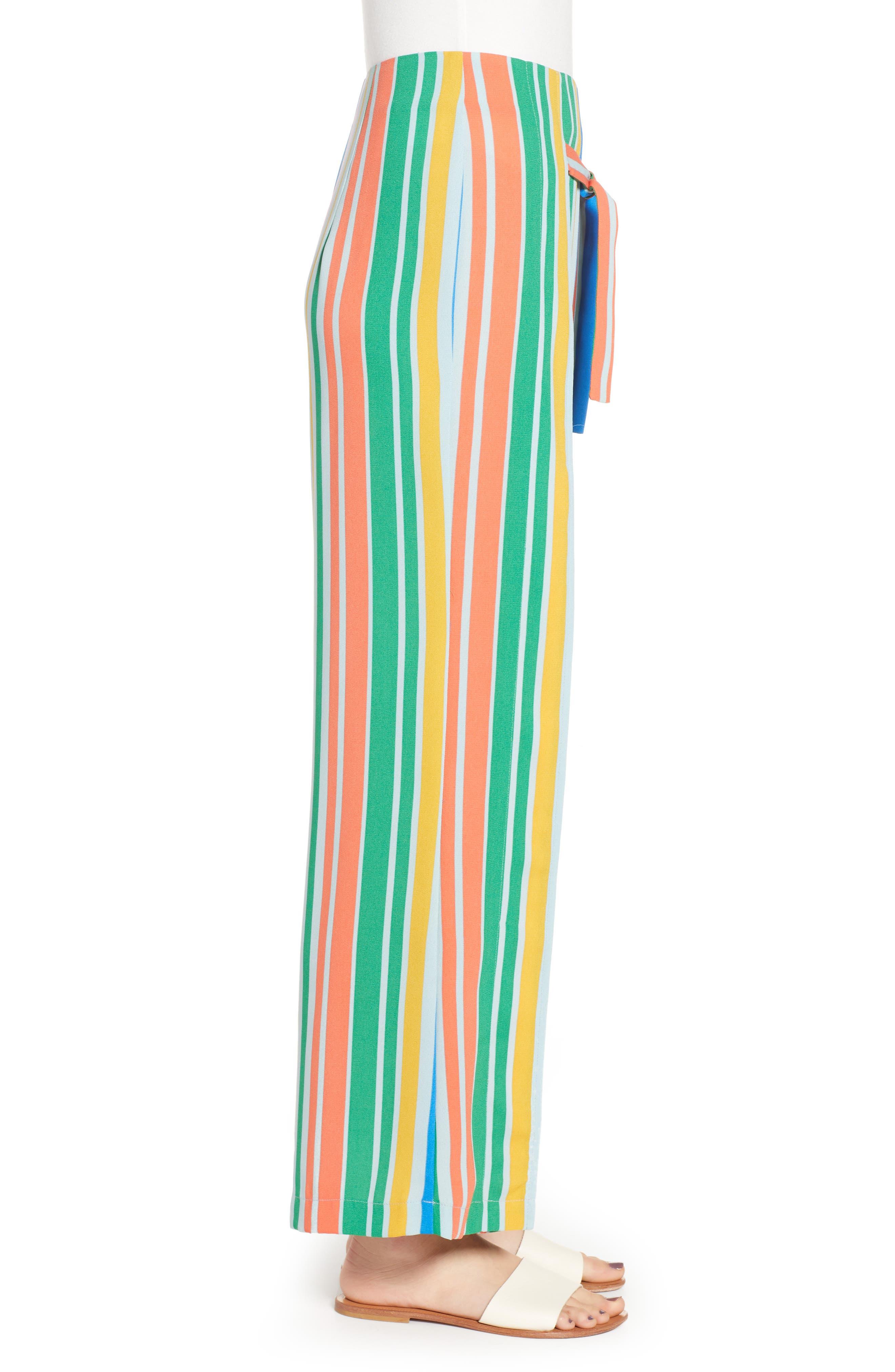 ,                             Tie Front Wide Leg Pants,                             Alternate thumbnail 6, color,                             BLUE FRENCH MULTI STRIPE