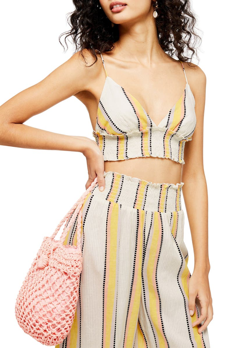 TOPSHOP Stripe Smocked Waist Bralette Crop Top, Main, color, IVORY MULTI
