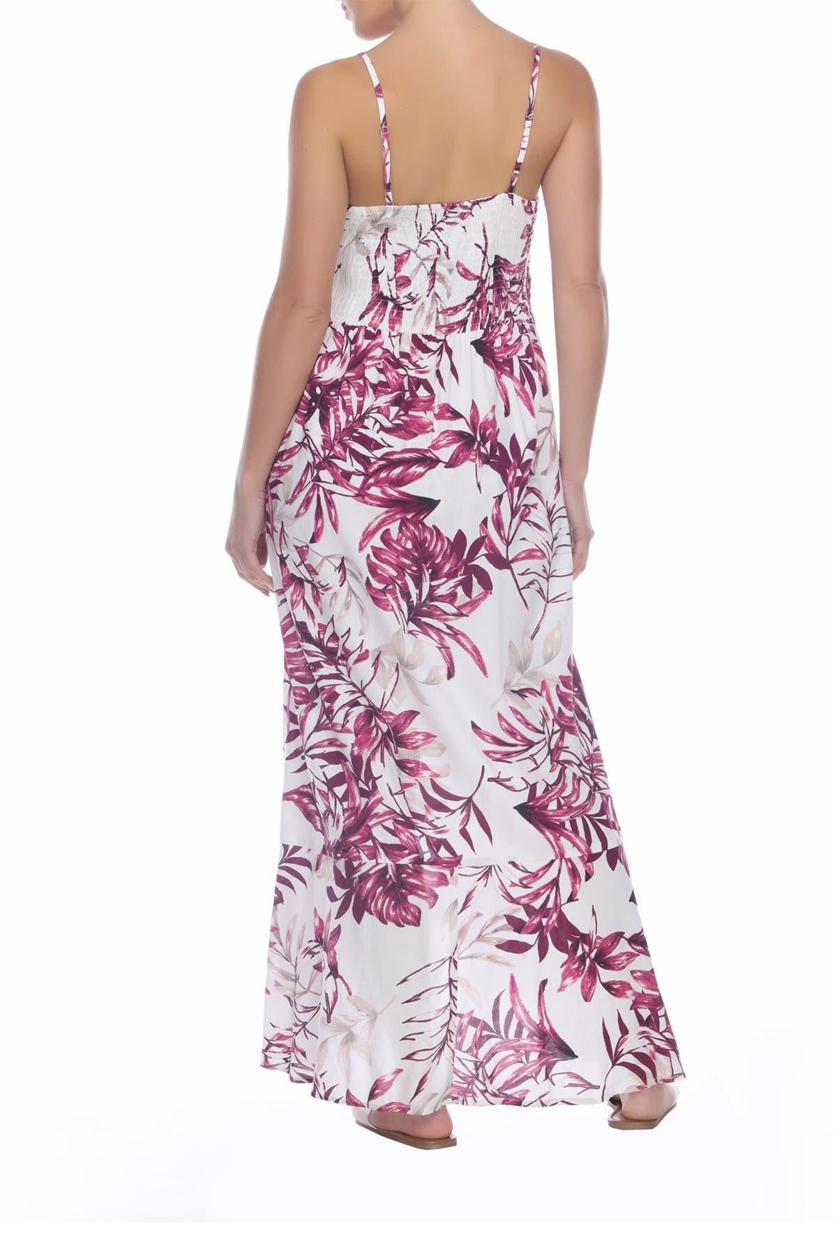 Image of BOHO ME Leaf Printed Hi-Lo Flounce Hem Dress