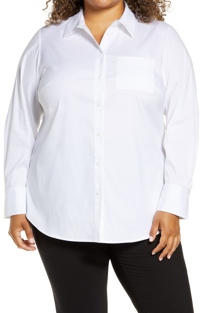 LAFAYETTE 148 NEW YORK Paget Stretch Cotton Blouse, Main, color, WHITE