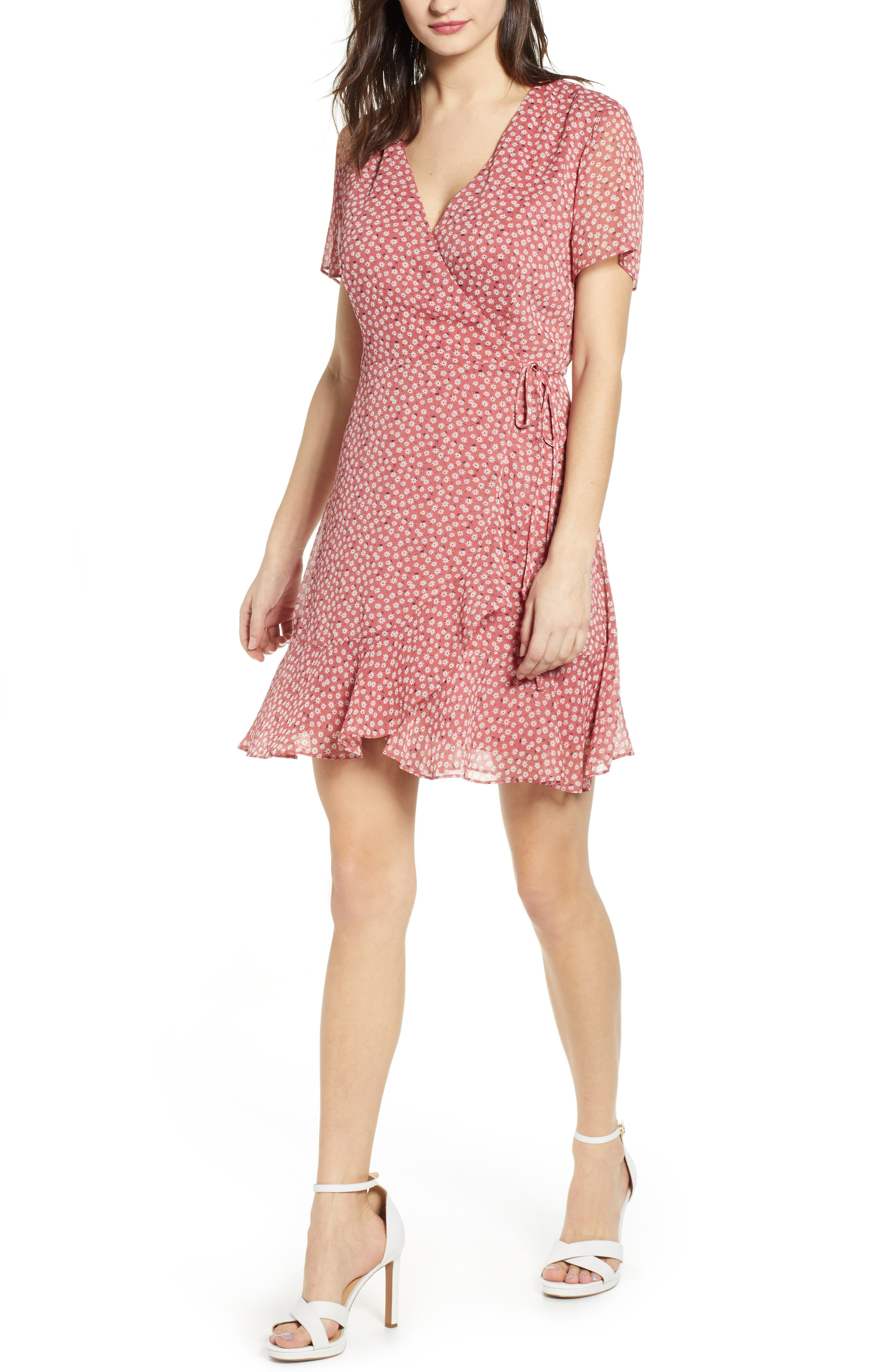 All In Favor Isabella Wrap Dress, Pink