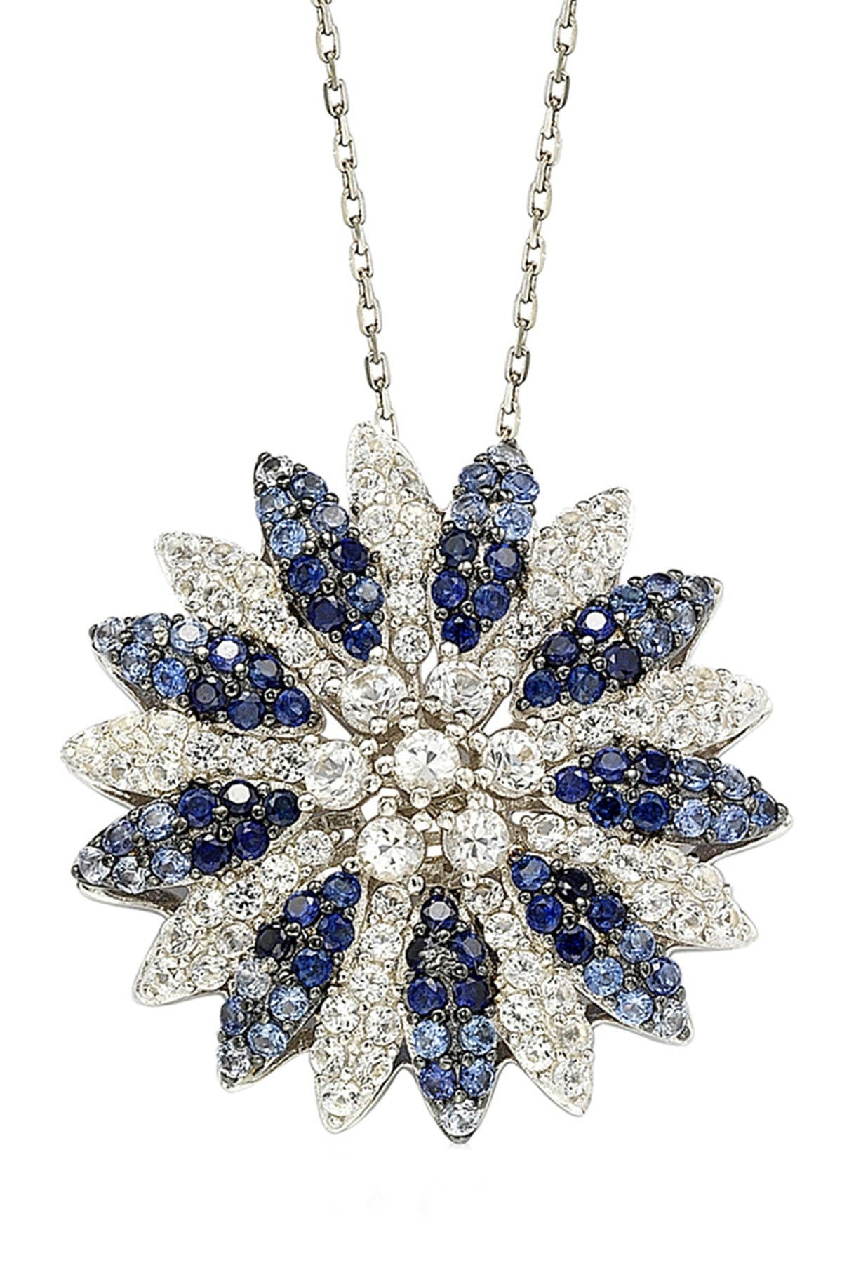 Image of Suzy Levian Two-Tone Blue Sapphire, Created White Sapphire & Brown Diamond Burst Pendant Necklace - 0.02 ctw