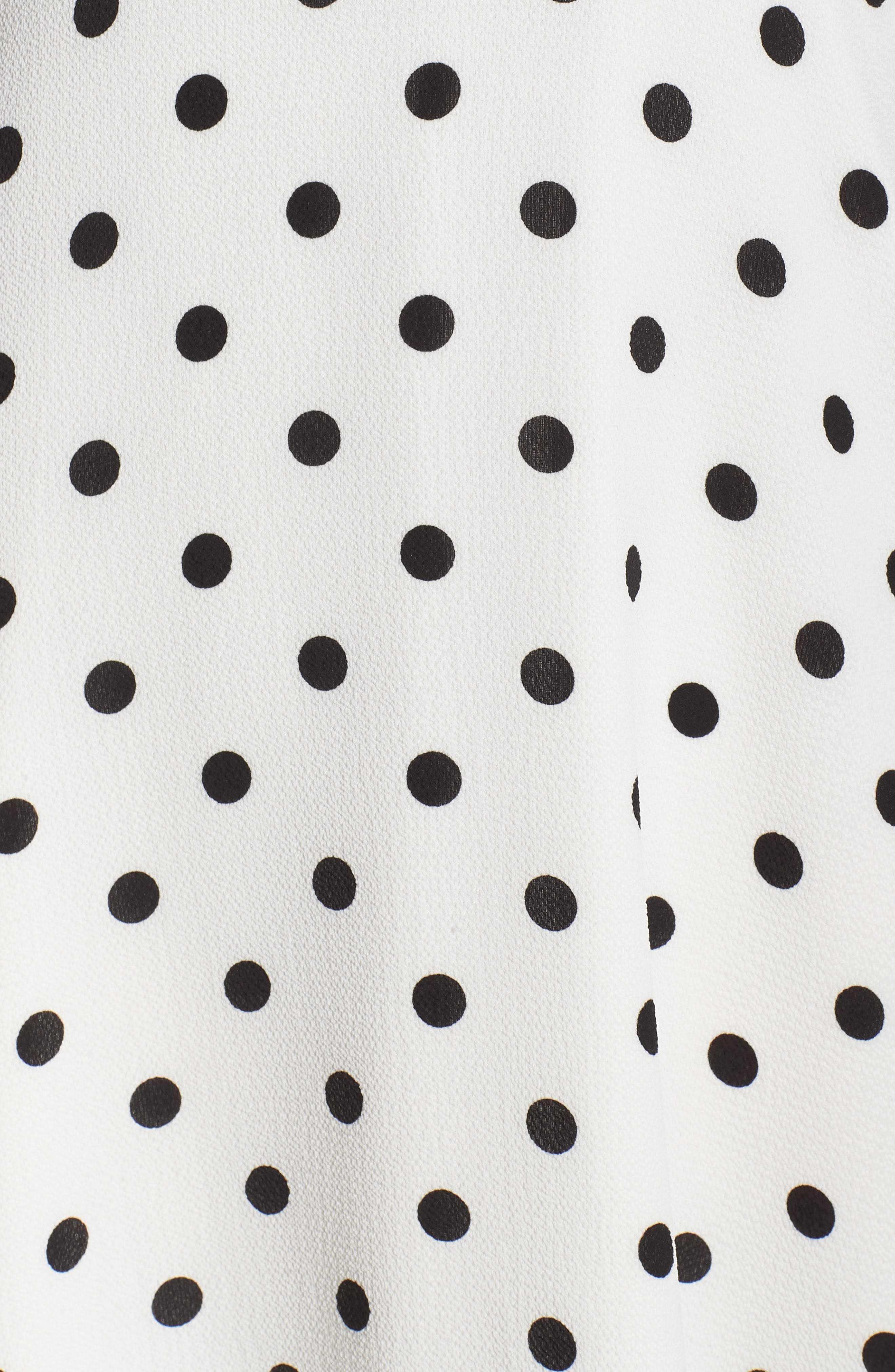 ,                             Dot High/Low Fit & Flare Dress,                             Alternate thumbnail 6, color,                             BLACK/ WHITE