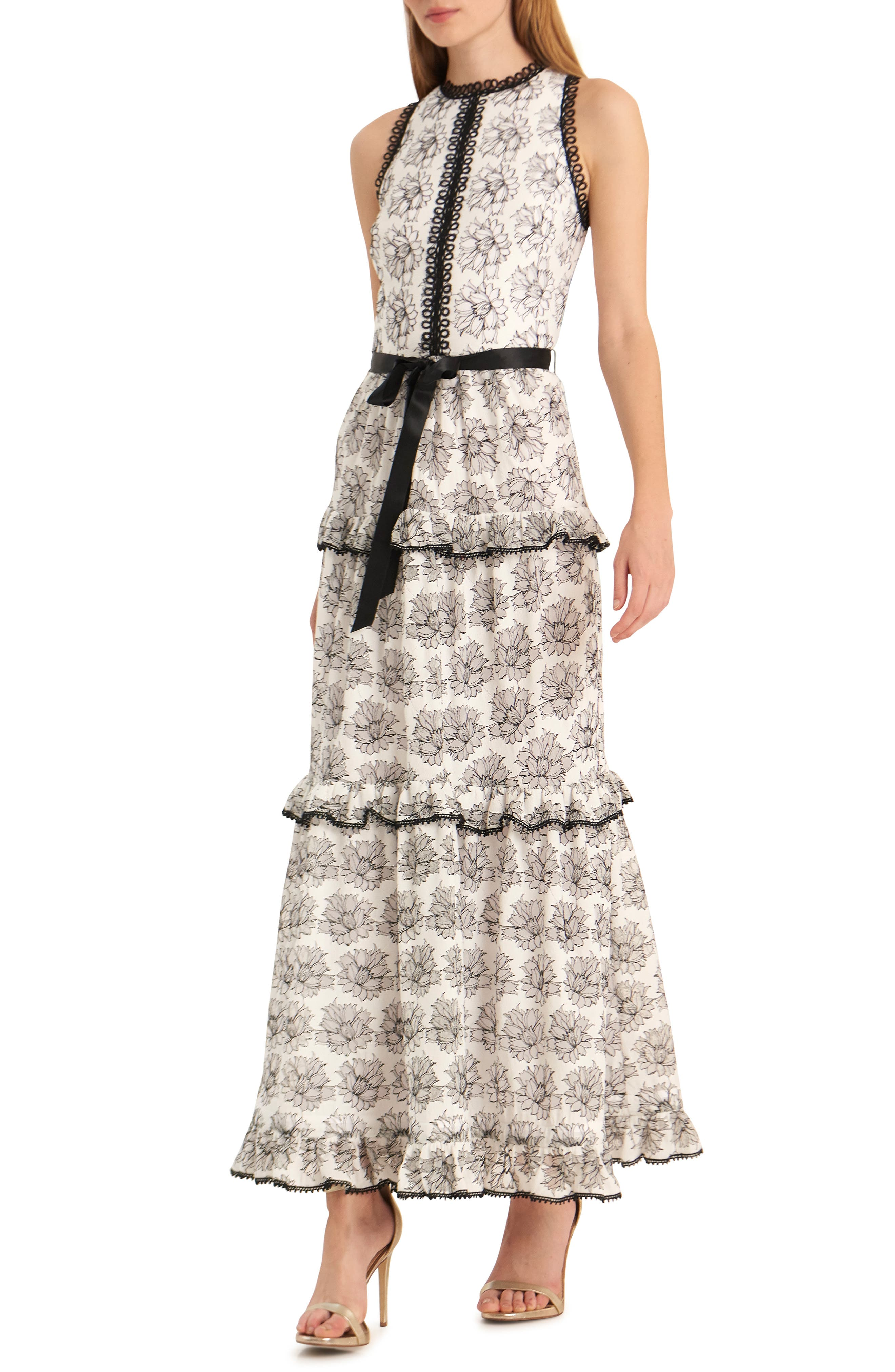 Ml Monique Lhuillier Ruffle Tiered Evening Gown, White