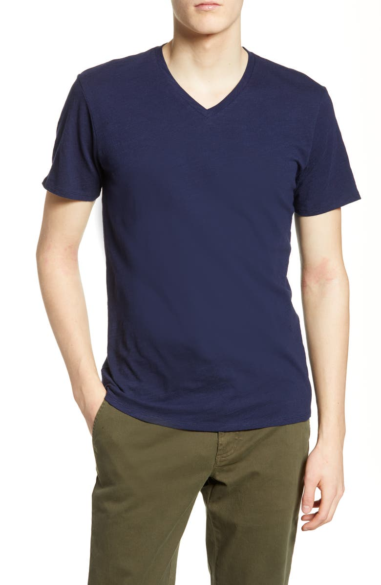 THE RAIL Slub Cotton V-Neck T-Shirt, Main, color, NAVY PEACOAT