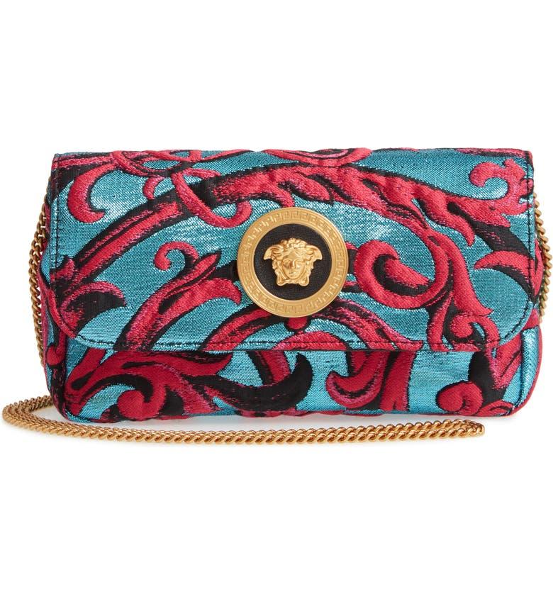 VERSACE Barocco Jacquard Icon Crossbody Bag, Main, color, AZZURRO/ FUXIA/ NERO