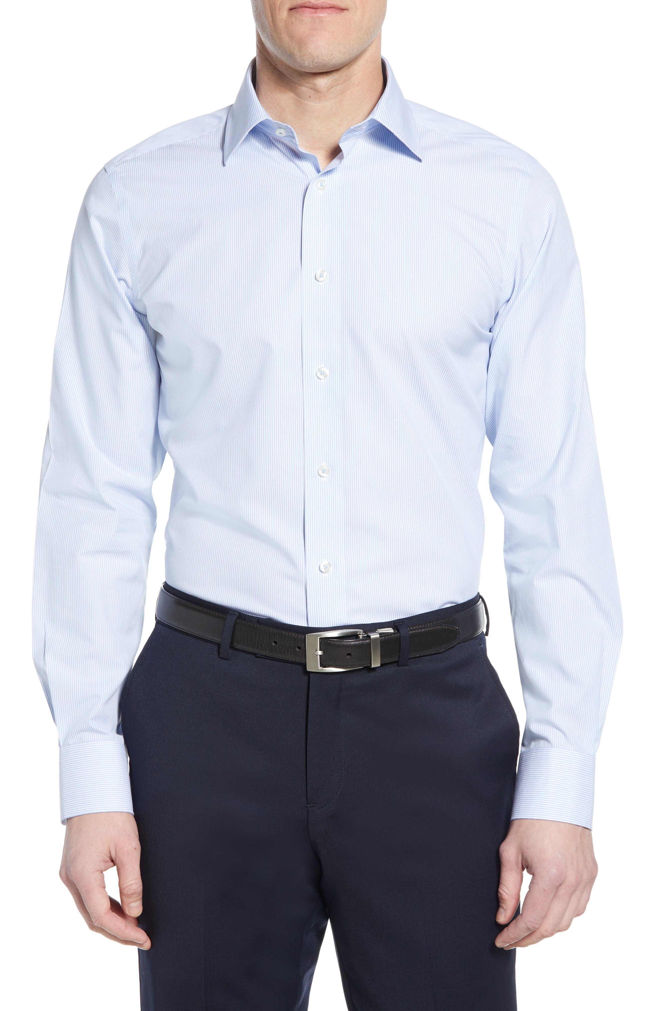 Luxury Non-Iron Trim Fit Stripe Dress Shirt
