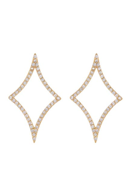 Image of Paige Novick Asymmetrical Shaped Natural White Zircon Pave Earrings