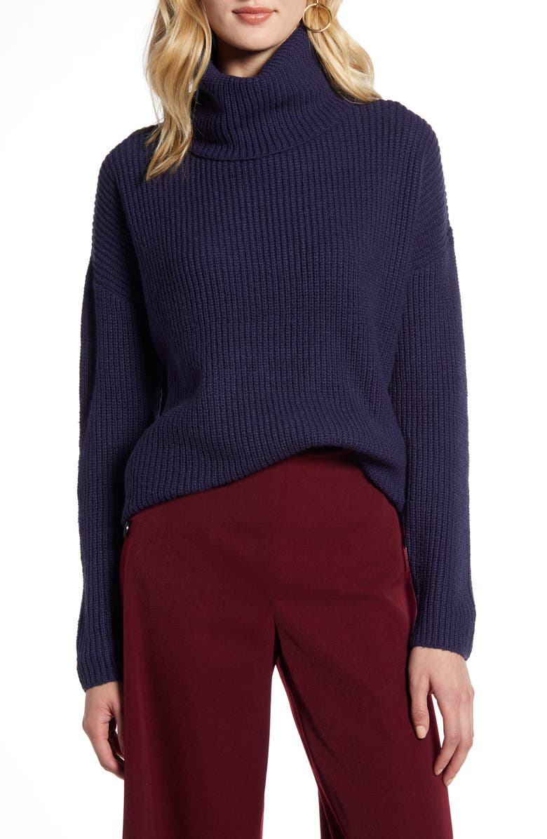 HALOGEN<SUP>®</SUP> Oversized Turtleneck Tunic Sweater, Main, color, NAVY PEACOAT