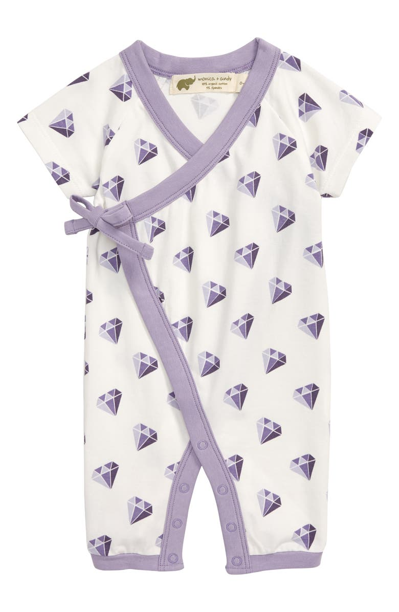 MONICA + ANDY Sweet Baby Diamond Tape Wrap Romper, Main, color, LIKE A DIAMOND