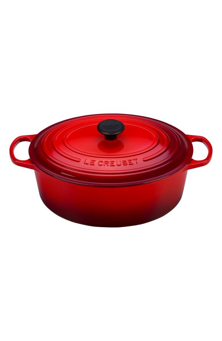 LE CREUSET Signature 8-Quart Oval Enamel Cast Iron French/Dutch Oven, Main, color, CERISE