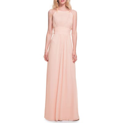 #levkoff Low Back Pleated Chiffon Gown, Pink