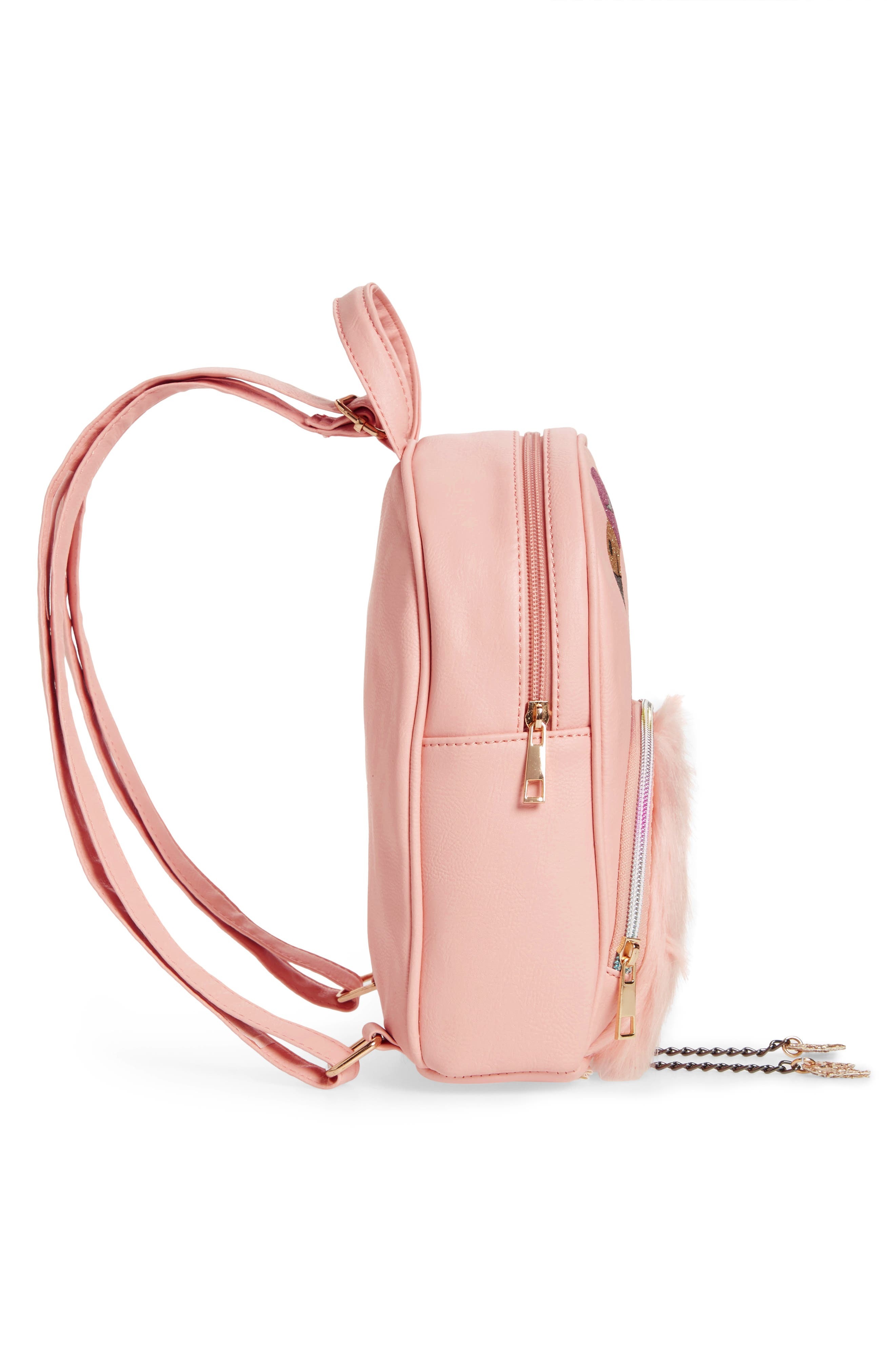 ,                             Mini Faux Fur Flamingo Backpack,                             Alternate thumbnail 4, color,                             PINK