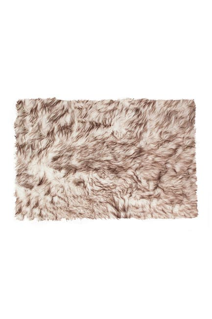 Image of LUXE Faux Fur Hudson Rectangular Rug - 2ft x 3ft - Gradient Chocolate