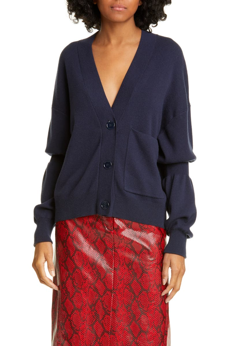 TIBI Double Cuff Cardigan, Main, color, NAVY