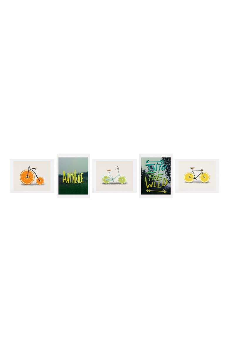 DENY DESIGNS Adventure Five-Piece Gallery Art Print Set, Main, color, YELLOW AND LIME