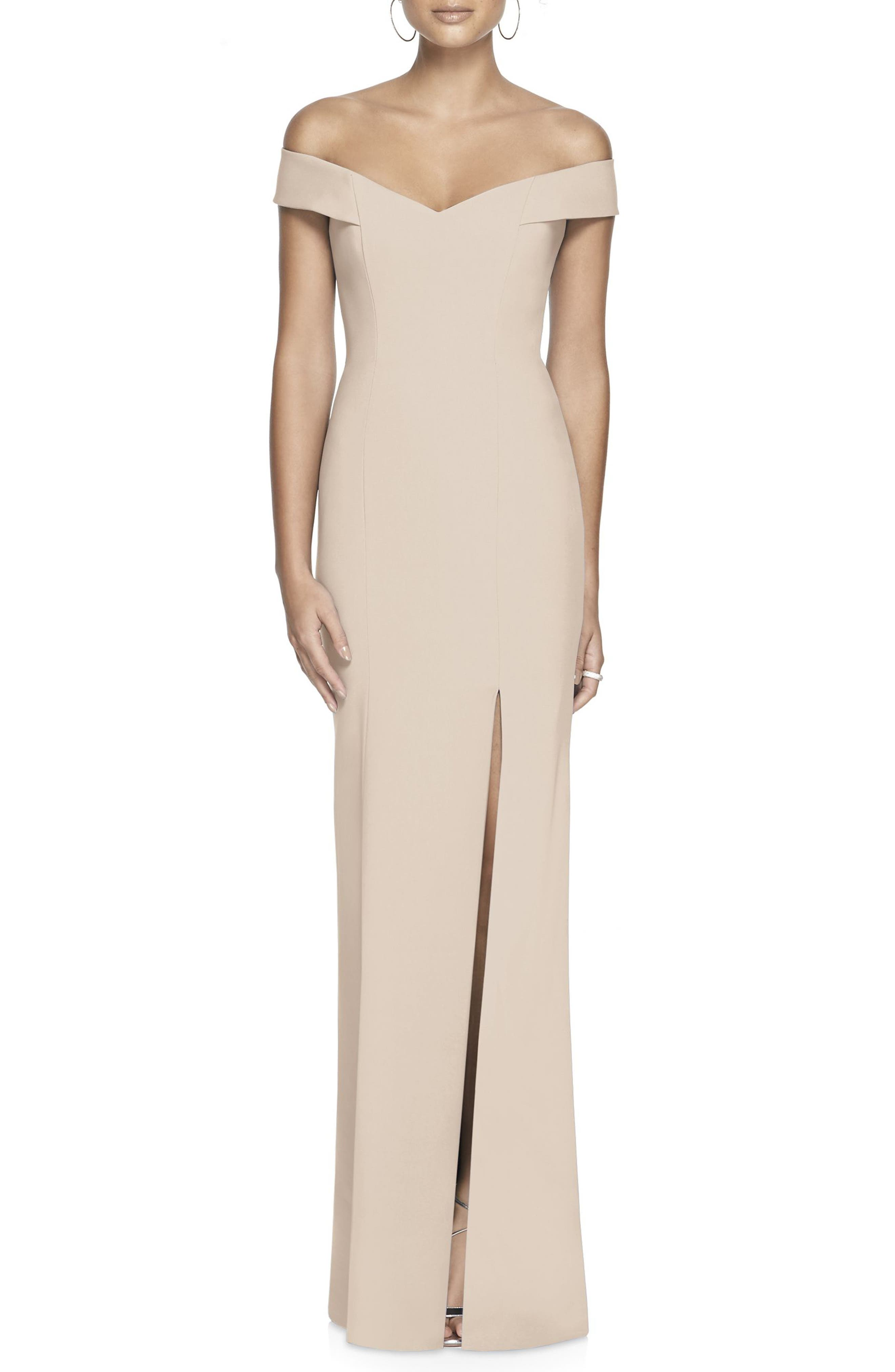 Dessy Collection Off The Shoulder Crossback Gown, Beige