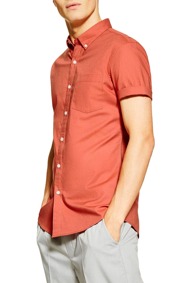 TOPMAN Stretch Solid Shirt, Main, color, BROWN