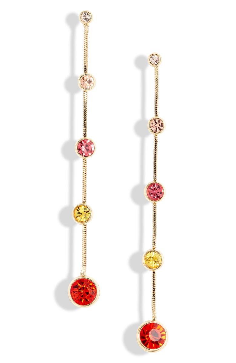 STELLA + RUBY Multi Stone Linear Drop Earrings, Main, color, GOLD/ MULTI