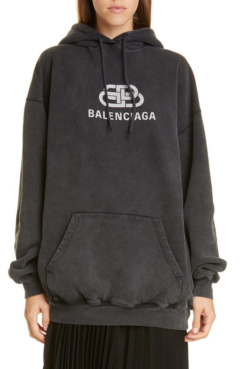 BALENCIAGA BB Logo Oversize Hoodie, Main, color, ANTHRACITE