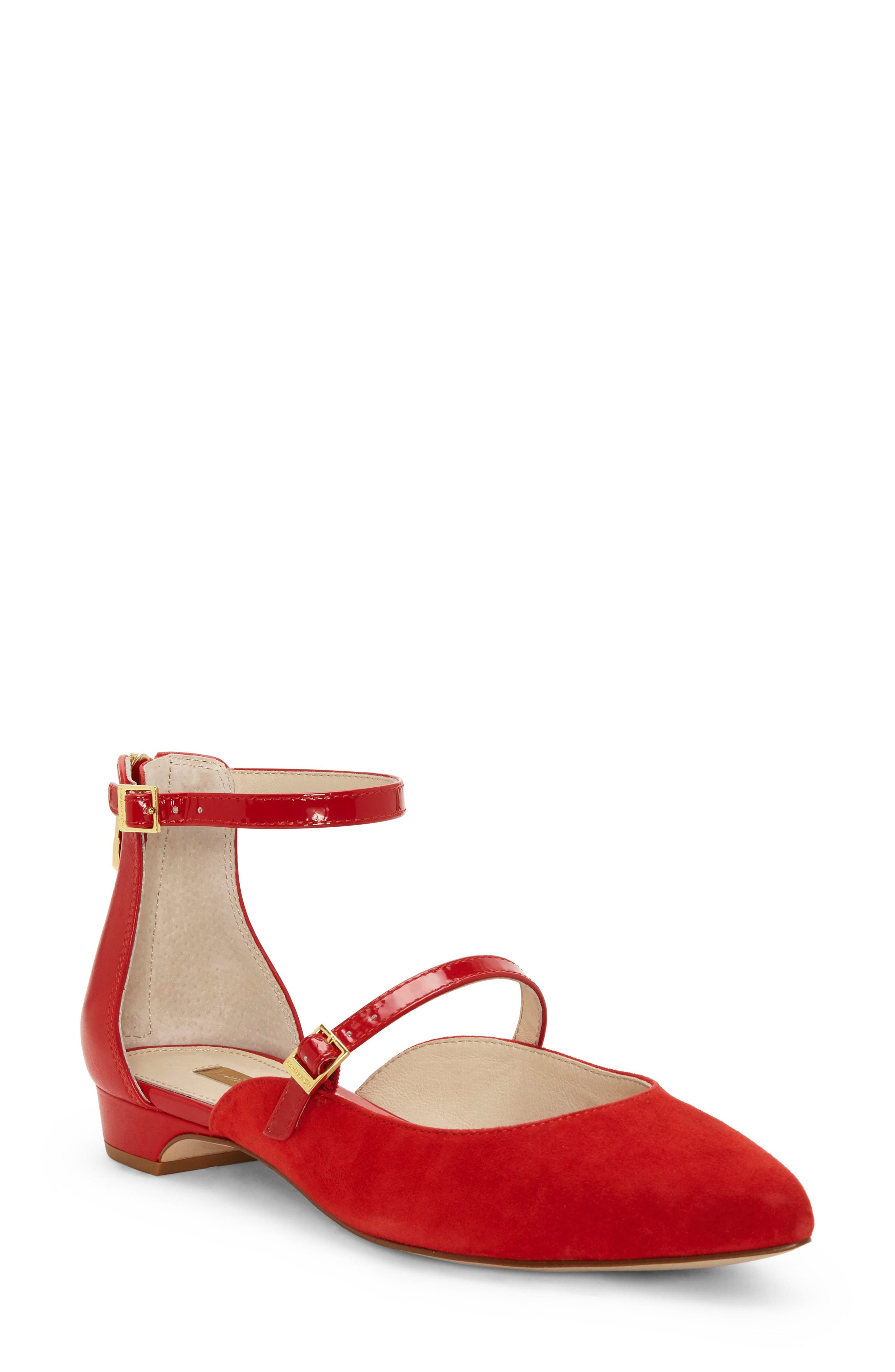 Louise Et Cie Claire Ankle Strap Flat, Red